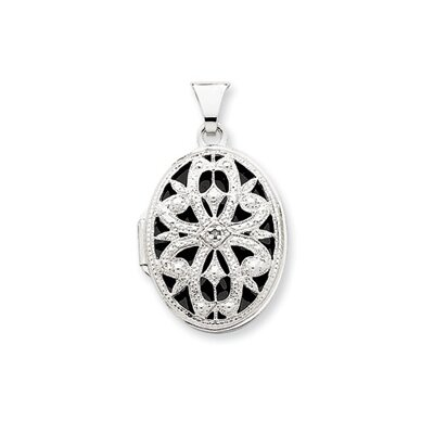 14k White Gold 21mm Oval Vintage Di Casting Locket