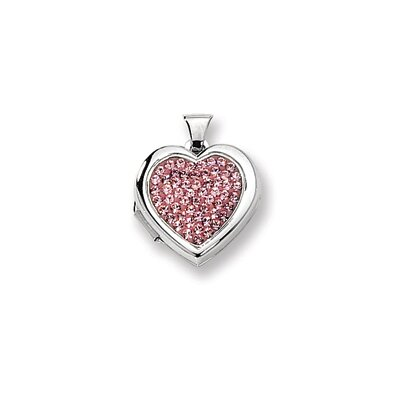 Sterling Silver Pave Pink Crystal 18mm Heart Locket