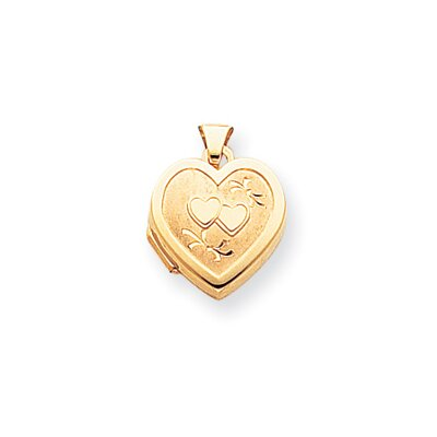 Jewelryweb 14k Satin Polished Diamond-cut Heart-Shaped Hearts Locket