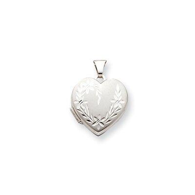 Jewelryweb 14k White Gold Diamond-Cut 18mm Heart Locket