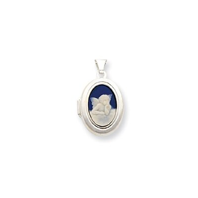 Sterling Silver Angel Cameo 21mm 2-Frame Oval Locket