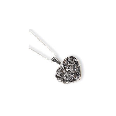Jewelryweb Sterling Silver Marcasite Heart Locket With Chain - Spring Ring