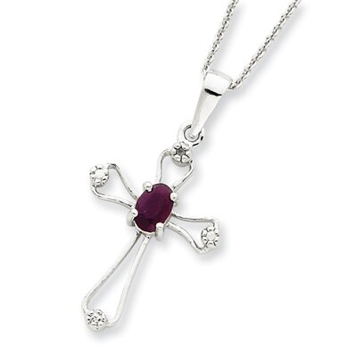 Jewelryweb Sterling Silver Ruby Cross Necklace - Spring Ring