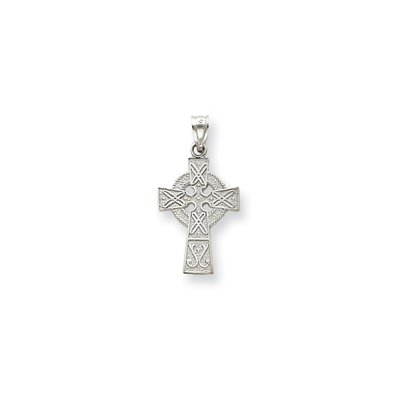 14k White Gold Celtic Cross Pendant