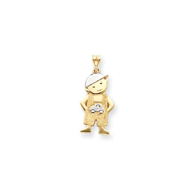 Jewelryweb 14k With Rhodium Boy With Hands In Pockets Pendant