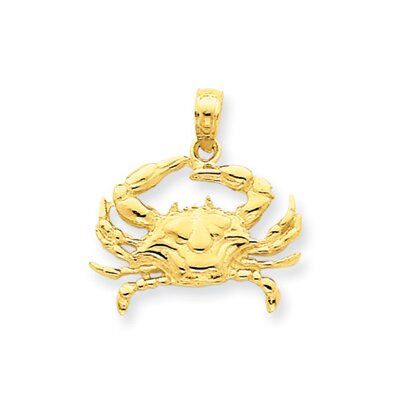 14k Blue Crab Pendant