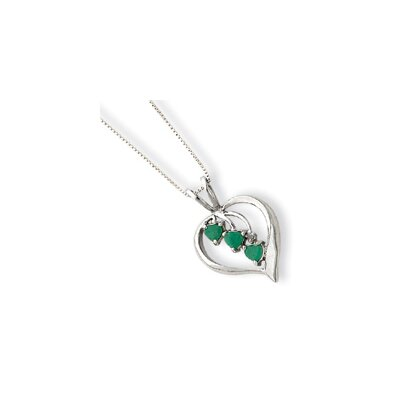 Jewelryweb Sterling Silver Heart Cascading Emeralds Necklace - Spring Ring