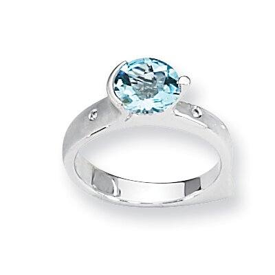 Jewelryweb Sterling Silver Blue Topaz and Diamond Ring