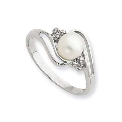 Jewelryweb Sterling Silver Rhodium 6mm FW Cult Button Pearl and Diamond Ring