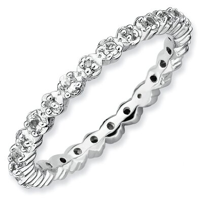 Sterling Silver Stackable Expressions White Topaz and Diamond Ring