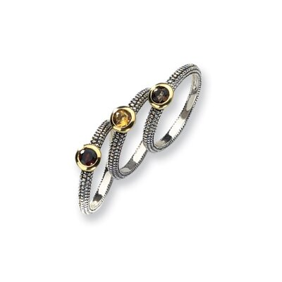 Sterling Silver With 14k Gemstone 3 Stackable Rings