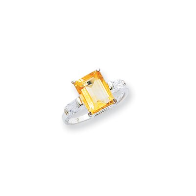 Jewelryweb Sterling Silver Emerald Cut Citrine Halo Ring