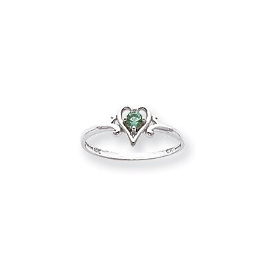 14k White Gold Genuine May Birthstone Heart Ring