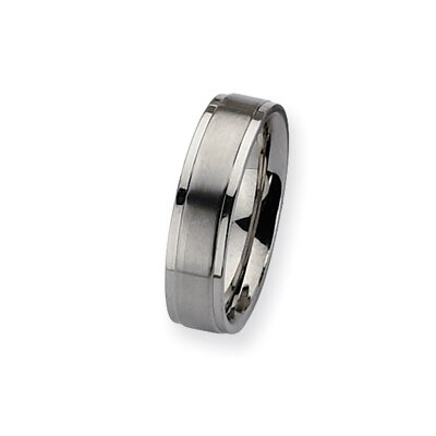Jewelryweb Stainless Steel Ridged Edge Sat/Polish Band