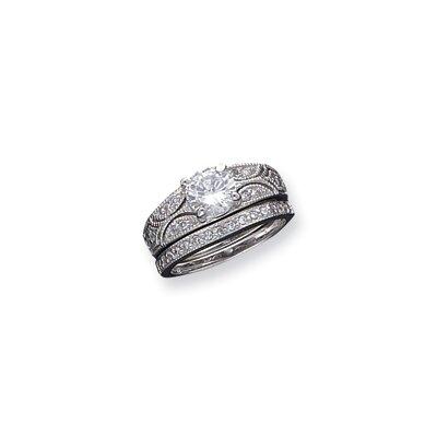 2-Piece Sterling Silver Cubic Zirconia Wedding Ring Set