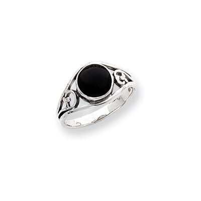 Sterling Silver Round Cut Onyx Ring