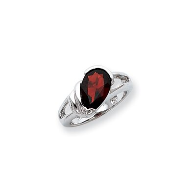 Sterling Silver Pear Cut Garnet Ring