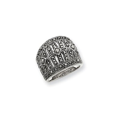 Jewelryweb Sterling Silver Marcasite Masonic Ring
