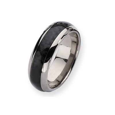 Titanium Carbon Fiber 8mm Polished Band Ring