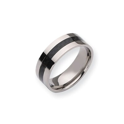 Jewelryweb Titanium Carbon Fiber Flat 8mm Polished Band