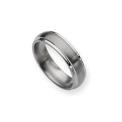 Titanium Ridged Edge 7mm Brushed Polished Band Ring