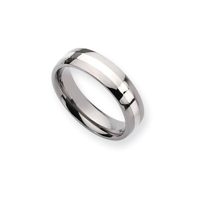 Titanium Sterling Silver Inlay 6mm Polished Band Ring