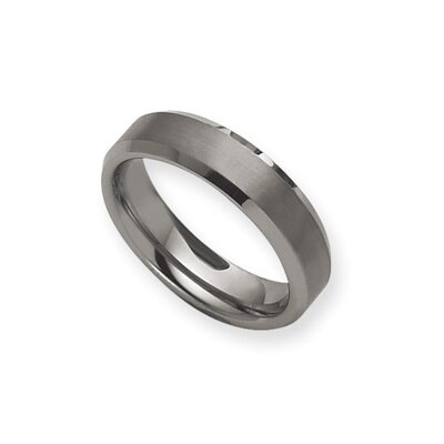 Tungsten Beveled Edge 7mm Brushed Polished Band Ring