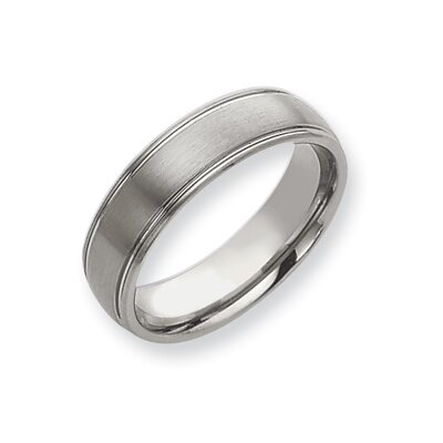 Tungsten Grooved 7mm Brushed and Polished Band Ring