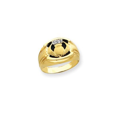 10k Mens Diamond and Black Onyx Claddagh Ring