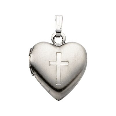Jewelryweb Sterling Silver Heart Locket With Cross