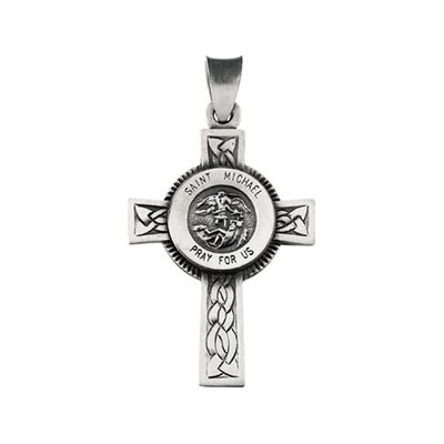 Jewelryweb Sterling Silver St. Michael Cross with Chain