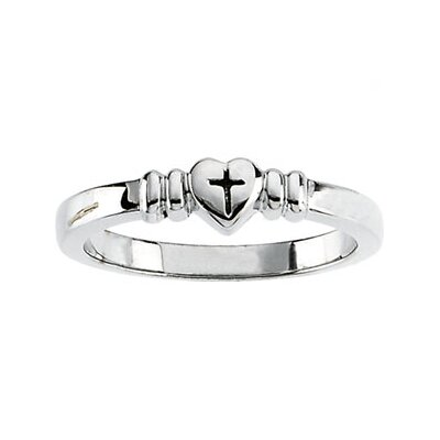 Jewelryweb Sterling Silver Heart With Cross Ring