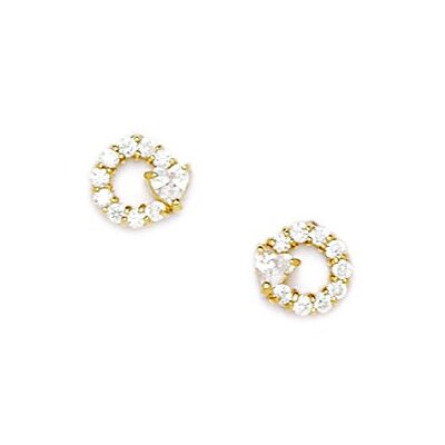 Small Circle with Heart Cubic Zirconia Stud Earrings