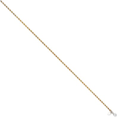 Sterling Silver 2.3mm Diamond-Cut Rope Anklet, 10