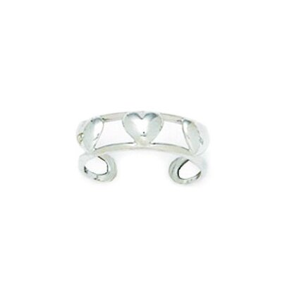 14k White Gold Double Row With Hearts Adjustable Toe Ring