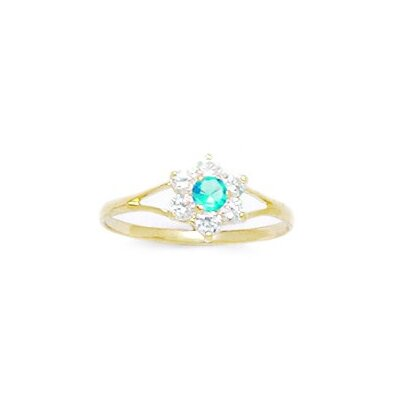 14k Yellow Gold Flower Cubic Zirconia Children Ring