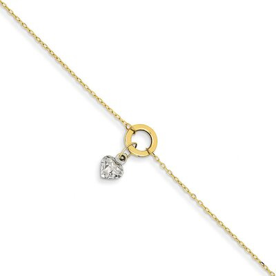 14k Gold Two-Tone Circle Diamond-Cut Puff Heart Anklet, 9