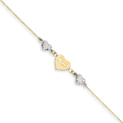 14k Two-Tone Ropa Diamond-Cut Beads Puff Heart Anklet, 9