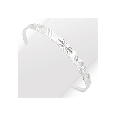 Sterling Silver Diamond-Cut and Textured Bell Childrens Adjustable Bangle