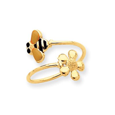 14k Yellow Gold Bee and Flower Toe Ring