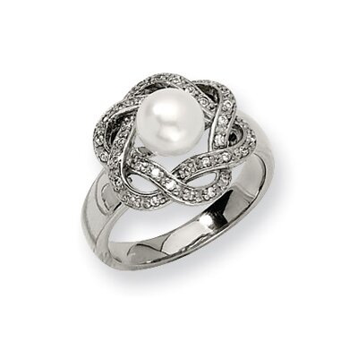 Stainless Steel Cultured Pearl and Cubic Zirconia Ring