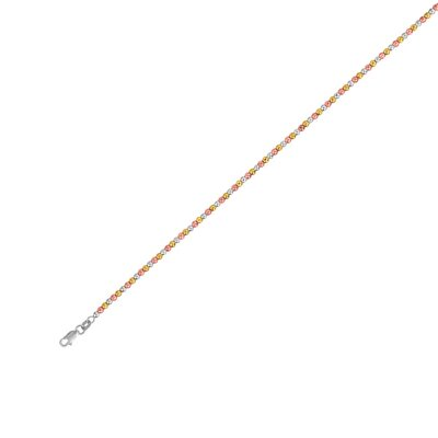 Sterling Silver Rhodium Diamond-Cut Bead Plated - Rhod Anklet, 10