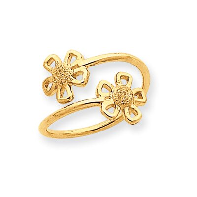 14k Yellow Gold Laser Cut Flower Toe Ring