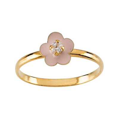 14k Yellow Gold Flower Childrens Ring