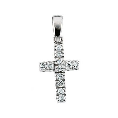 14k White Gold Cubic Zirconia Childrens Cross Pendant