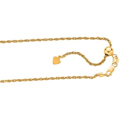 Sterling Silver 1.6mm Gold Plated Diamond-Cut Solid Rope Chain Necklace, 22