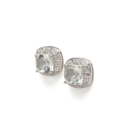 Jewelryweb Sterling Silver Rhodium Green Amethyst Diamond Earrings
