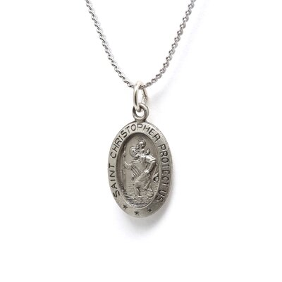 Jewelryweb Sterling Silver St. Christopher Medal PendantWith Out Chain 17x11mmMedal Only