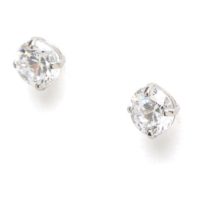 Jewelryweb 14k White Gold 4mm Round CZ Screwback Earrings