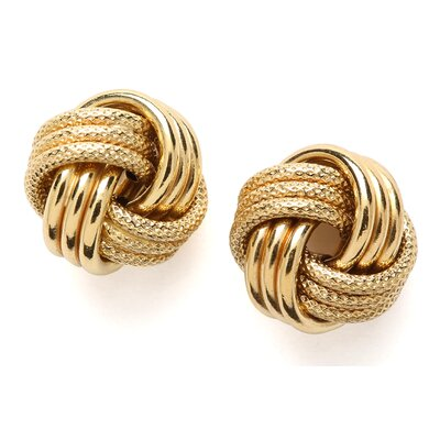 14k 12mm Yellow Gold Large Love Knot Earring